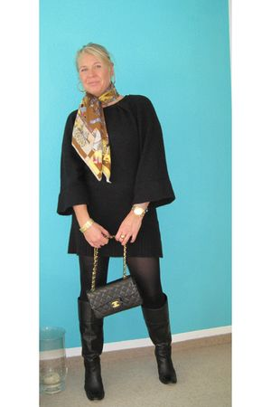 Hermes scarf - Zara dress - Chanel lambskin 255 purse - boots