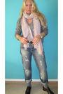 Black-blazer-gray-mango-shirt-pink-zara-scarf-h-m-jeans-black-balenciaga