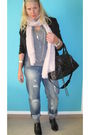 Black-blazer-gray-mango-shirt-pink-zara-scarf-h-m-jeans-black-balenciaga