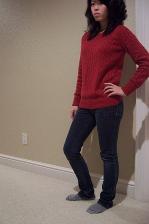 red Gap sweater - PacSun jeans - gray socks