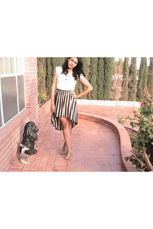 hi-l stripes Forever 21 skirt - tan Luciano Dante shirt - nude Nine West pumps