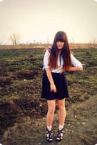 lindex socks - Secondhand skirt - black Aldo wedges - Forever 21 accessories