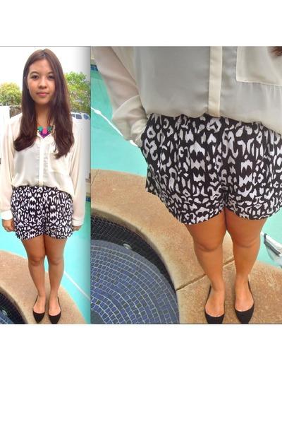 white shirt H&M blouse - black Steve Madden flats - printed PacSun pants