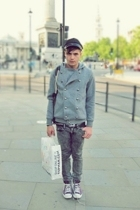 gray American Apparel pants - purple Converse shoes - black Secondhand hat