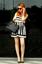 white stripe Choies dress - black black lamade bag