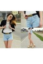 Topshop shorts - Topshop blazer - Dorothy Perkins shirt - Moschino belt