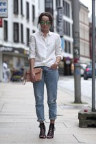 leather Alexander Wang bag - Never Denim jeans - H&M shirt