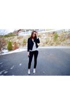 Converse shoes - Never Denim jeans - short Bik Bok jacket - silk Zara shirt