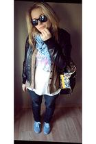 gray shoes - black jeans - white t-shirt - black jacket - black glasses - black
