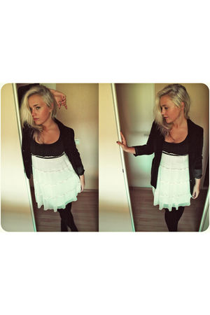 black jacket - white dress - black leggings - black shoes