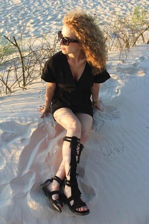 black Zara dress - black Prada sunglasses - black Topshop sandals