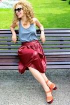 Zara skirt - Prada sunglasses - Forever 21 top - Zara wedges