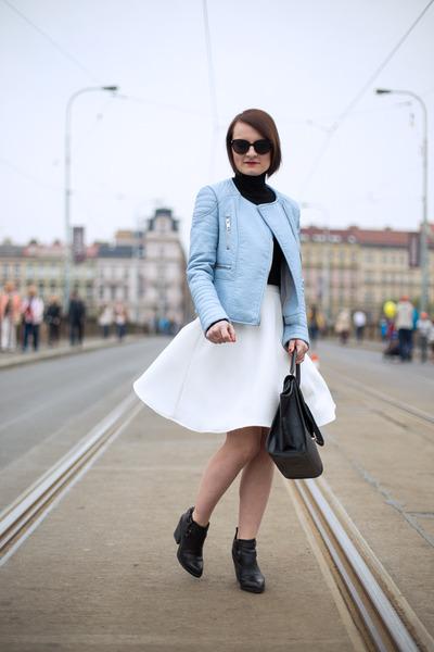 sky blue Zara jacket - white reserved skirt