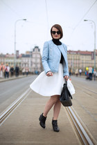 sky blue Zara jacket - white reserved skirt