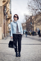 sky blue Zara jacket - heather gray sweater - black H&M pants