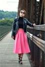Black-mango-jacket-bubble-gum-asos-skirt-black-zara-top