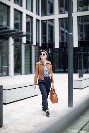 tawny Mango jacket - tawny Zara bag - navy Zara pants