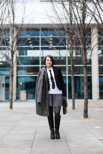 black Mango blazer - dark gray lindex coat - white t-shirt