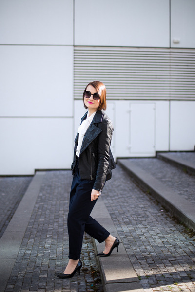 black lindex jacket - navy Zara pants - white Mango blouse
