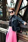 Black-mango-jacket-bubble-gum-asos-skirt-black-zara-top