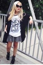 black Zara boots - black Forever 21 blazer - white school shirt shirt