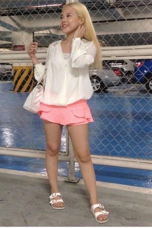 bubble gum skort Zara skirt - white longchamp bag - white Birkenstock sandals