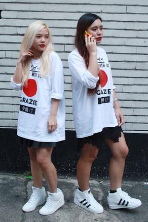 white longsleeves Zara shirt - white nike sky hi nike sneakers