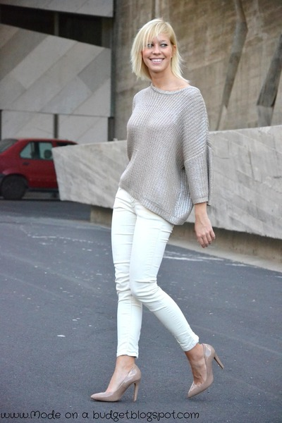 silver Zara sweater - off white Zara pants - neutral Mango heels