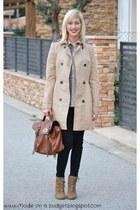 camel Zara boots - tan Massimo Dutti coat - camel Mizensa bag