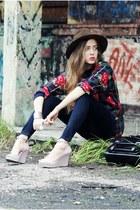 dark brown vintage hat - navy kasil pants - periwinkle Melissa wedges