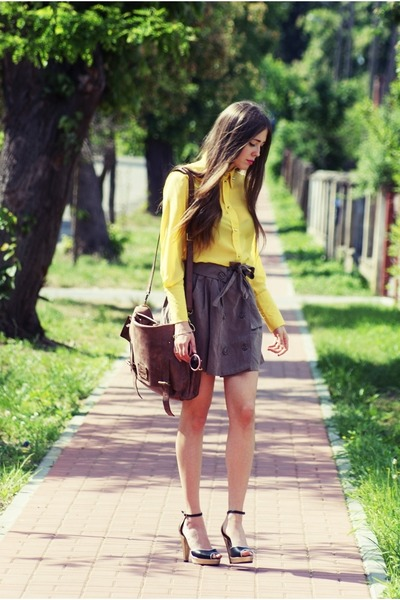 light yellow studded shirt - heather gray skirt