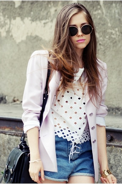 leopard print v-j style shoes - light pink escada blazer - navy romwe shorts - w