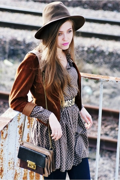 dark brown vintage hat - camel Secondhand jacket - heather gray olive shirt