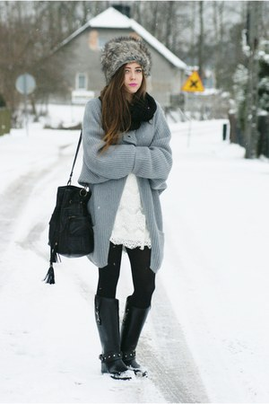 white Zara dress - silver Secondhand sweater