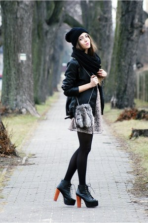 charcoal gray Love dress - black Jeffrey Campbell boots - black DIY hat