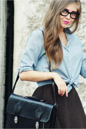 black bag - dark brown romwe skirt - black asos glasses