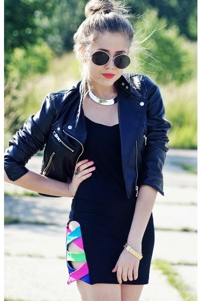 black Cubus sunglasses - black quontum dress - black H&M jacket