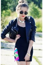 black Cubus sunglasses - black quontum dress - black H&M jacket