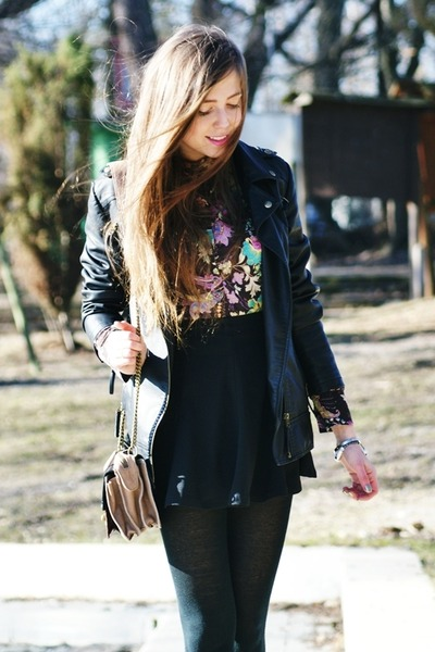 floral Atmosphere shirt - black Stradivarius jacket - black romwe skirt