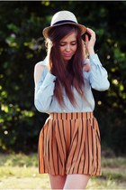 light blue romwe shirt - burnt orange Love shorts
