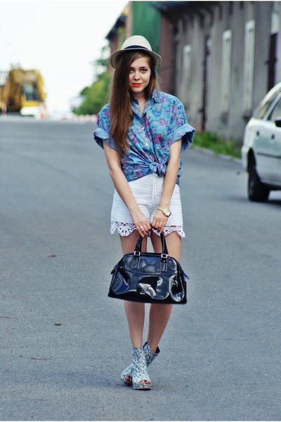 sky blue vintage shirt - black batycki bag - off white by my mum DIY shorts - sk