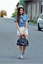 sky blue vintage shirt - black batycki bag - off white by my mum DIY shorts - sk