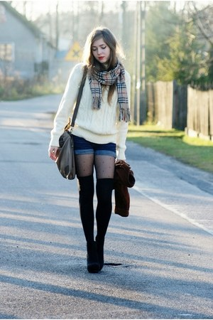 vintage scarf - TK Maxx shoes - vintage sweater - reserved tights - Solar bag