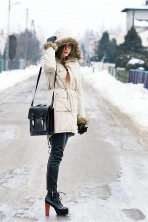 beige second hand coat - black Stradivarius pants