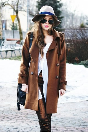 romwe coat - Stradivarius hat - Ray Ban sunglasses - H&amp;M pants