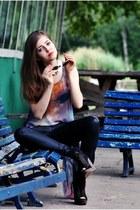 black leather Zara pants - black Bershka wedges - romwe top
