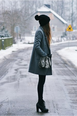 heather gray H&M coat - black boots - black diy hat