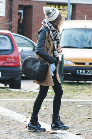 light brown Stradivarius coat - black Dr Martens shoes - black Mango bag