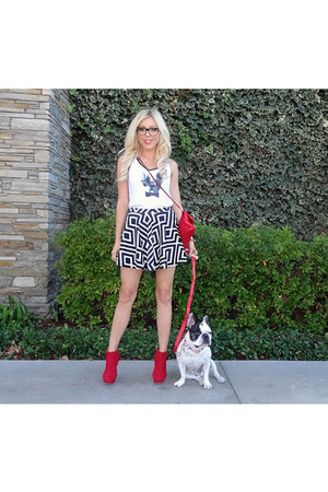 retro Im Haute skirt - quilted Im Haute bag - tank top Manny The Frenchie top
