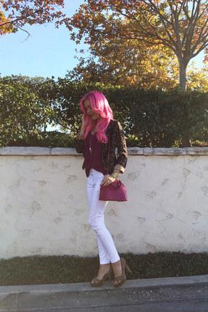 pink Louis Vuitton bag - skinny jeans Im Haute pants - chiffon Le Tote blouse